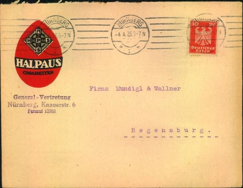 1925, toller Firmen-Werbebrief,  Reklame, Tabak, HALPAUS -Cigaretten-Fabrik Breslau VI