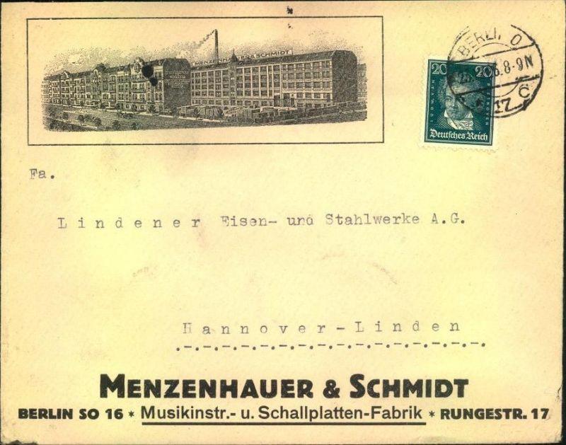 1926, toller Firmen-Werbebrief,  Reklame, Musik, MENZENHAUER & SCHMIDT, Musikintrumente- u. Schallplatten-Fabrik