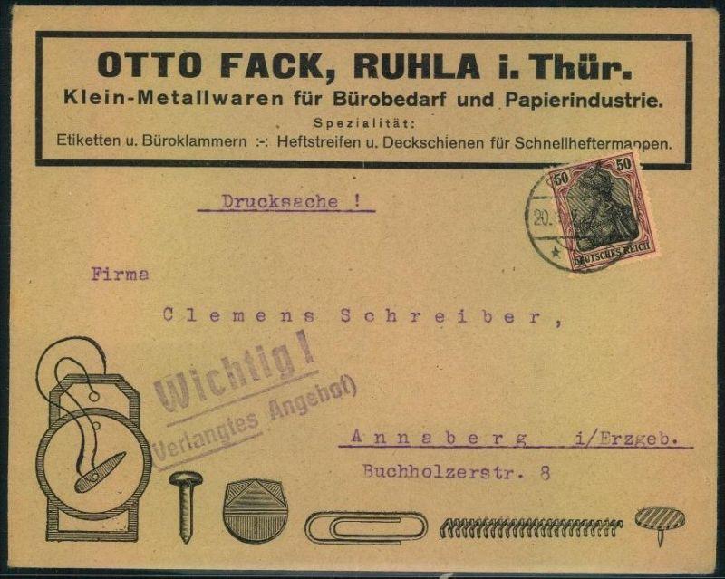 1922, toller Firmen-Werbebrief, Reklame,OTTO FACK, RUHLA i. Thür., Bürobedarf u. Papierindustrie