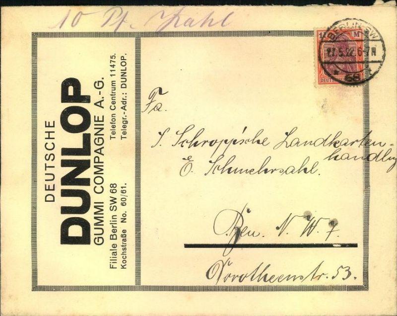 1922, toller Firmen-Werbebrief, Reklame, Deutsche DUNLOP Gummi Companie A.-G., Filiale Berlin SW 68