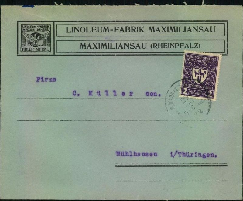 1922, toller Firmen-Werbebrief, Reklame, LINOLEUM-FABRIK MAXIMILIANSAU (Rheinpfalz), Adler-Marke