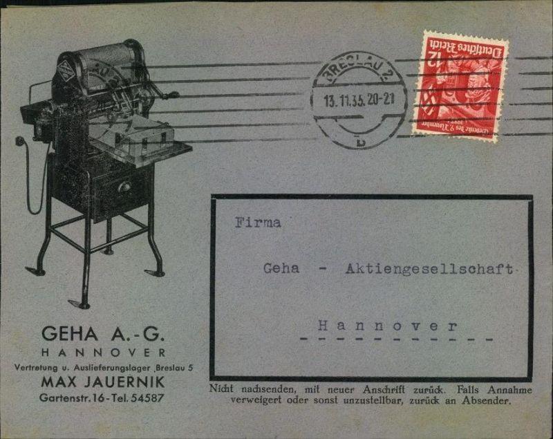 1935, toller Firmen-Werbebrief, Reklame, GEHA A.-G. Hannover MAX JAUERNIK, Vertretung u. Auslieferung Breslau 5