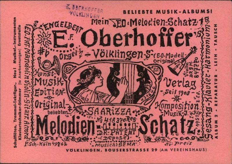 1955, Werbung für Musikalienhandlung mit 15 und 18 F Volksbefragung vom Ersttag, SAARBRÜCKEN, Völklingen
