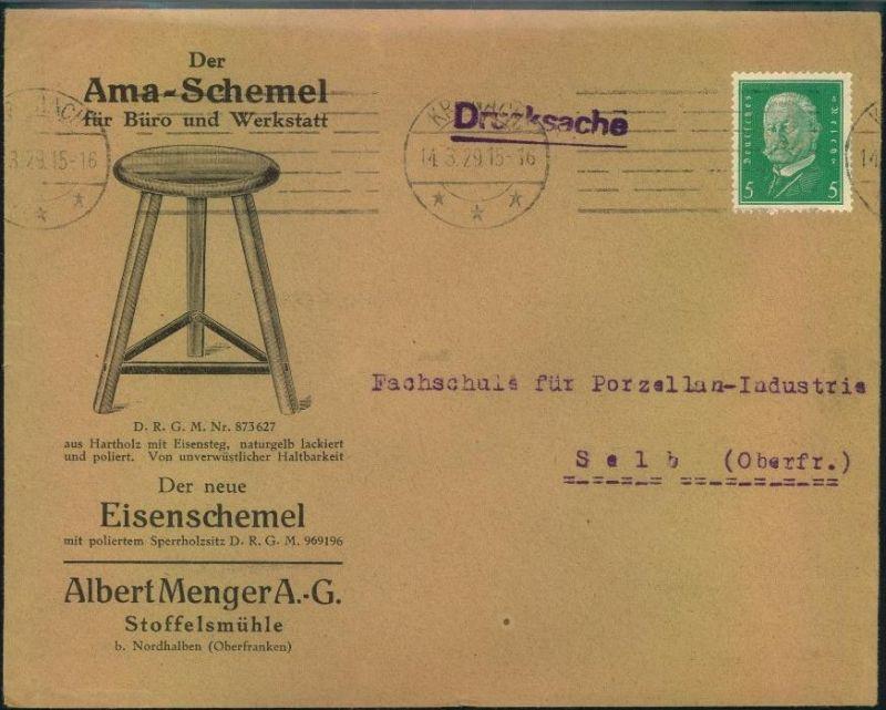 1929,KRONACH, toller Firmen-Werbebrief, Reklame,Der Ama-Schemel,für Büro u. Werkstatt, Albert Menger A.-G. Stoffelsmühle 0