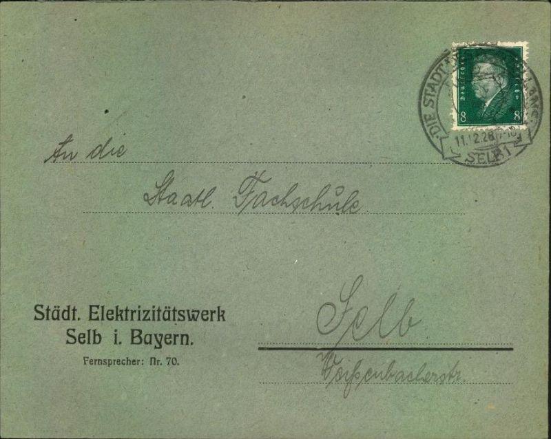 1928,SELB, toller Firmen-Werbebrief, Reklame, Städt. Elektrizitätswerk i. Bayern, mit Vignette