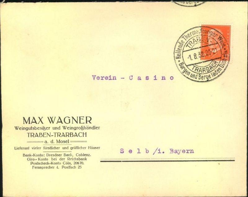 1932,TRABEN-TRABACH, toller Firmen-Werbebrief, Reklame, MAX WAGNER, Weingutbesitzer u -großhändler, SStpl.,Alkohol