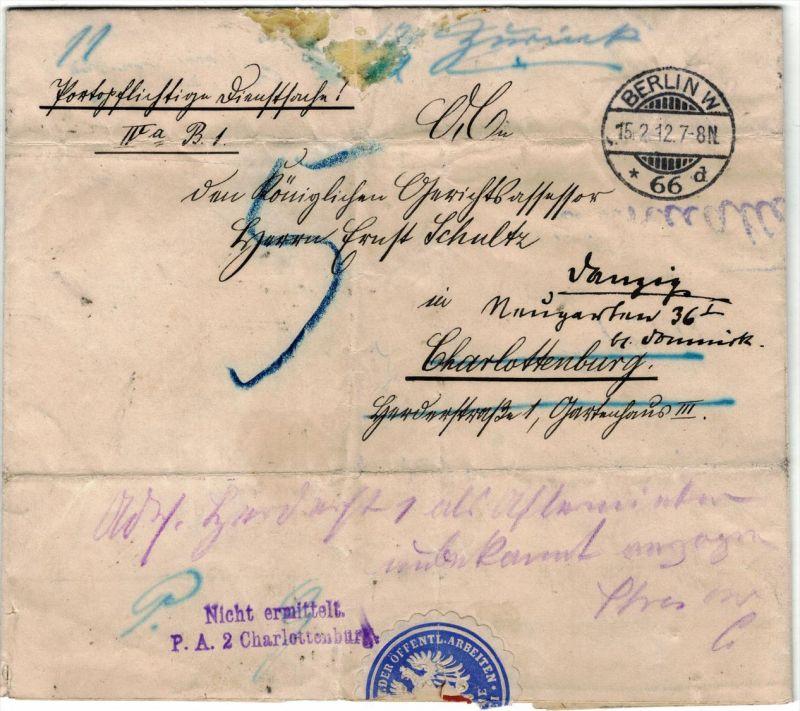 1912, portopflichtige Dienstsache ab BERLIN W 66 nach Charlottenburg nach Danzig nachgesandt.