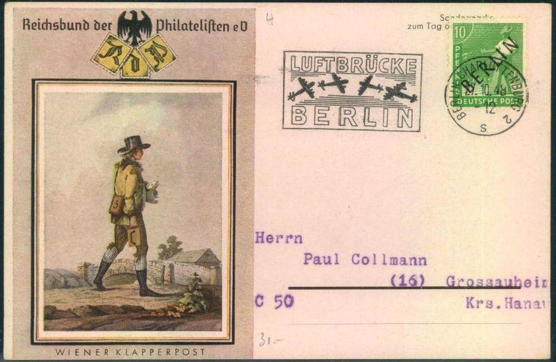 1948, Sonderstempel zur Luftbrücke BERLIN-CHARLOTTENBURG 2 auf alter Karte zum Tag der Briefmarke