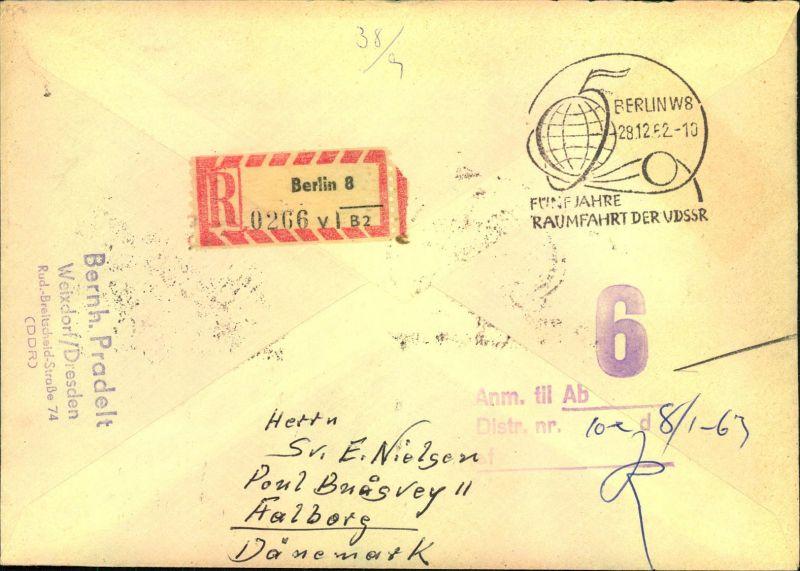 1962, Weltraum Kleinbogen R-LuPo FDC nach Dänemark 1