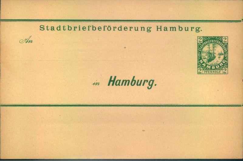 2 Pfg. Streifband, Stadtbriefbeförderung HAMBURG, ungebraucht