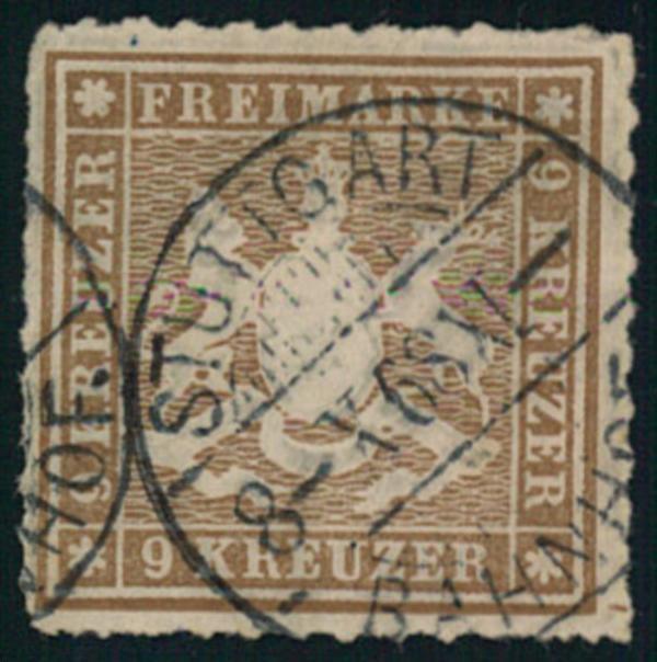 1865, 9 Kreuzer durchstochen gestempelt STUTTGART. Billigst, wahrscheinlich
