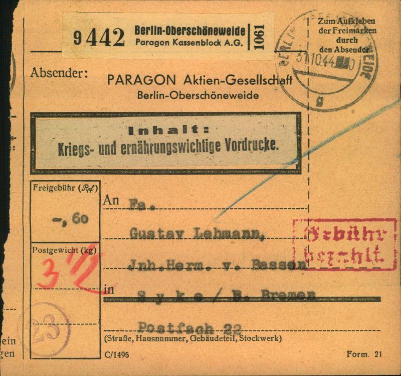 1944, Selbstbucher Paketkarte