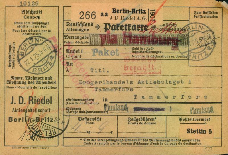 1925, Selbstbucher-Paketkarte von BERLIN-BRITZ