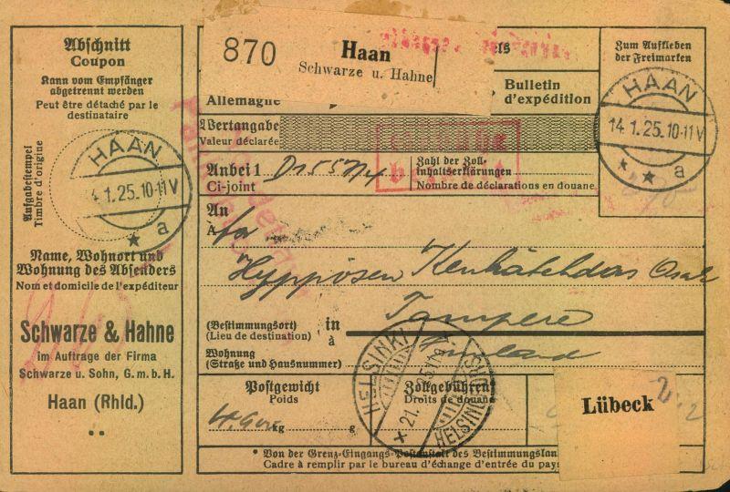 1925, Selbstbucher-Paketkarte von HAAN