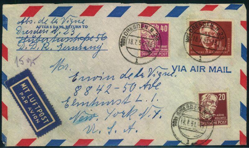 Brief Nach New York : Luftpostbrief ab a dresden n l nach