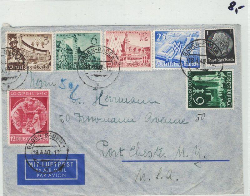 Auflösung Briefe Sammlung Drittes Reich ; BADEN-BADEN; nach USA 1940