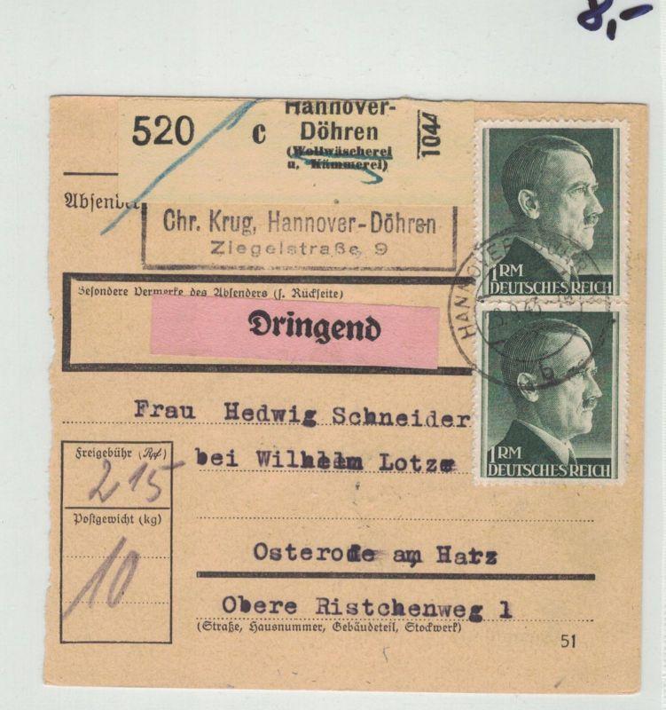 Auflösung Briefe Sammlung Drittes Reich ;HANNOVER - Döhren, Paketschein