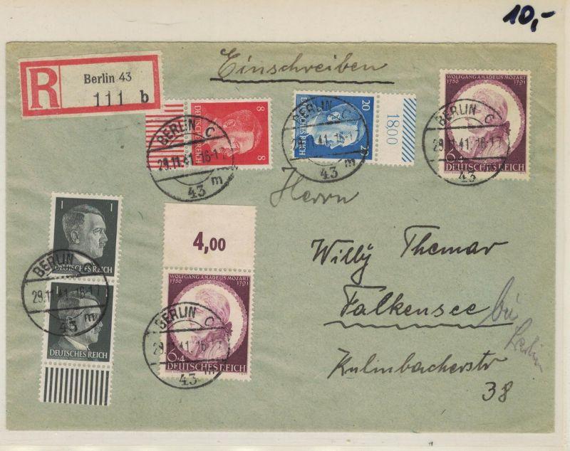 Auflösung Briefesammlung Drittes Reich ; BERLIN C, Einschreiben