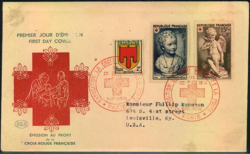 1950, Rotes Kreuz mit Ersttagssonderstempel und 2 Fr. Zusatzfrankatur auf FDC nach USA.