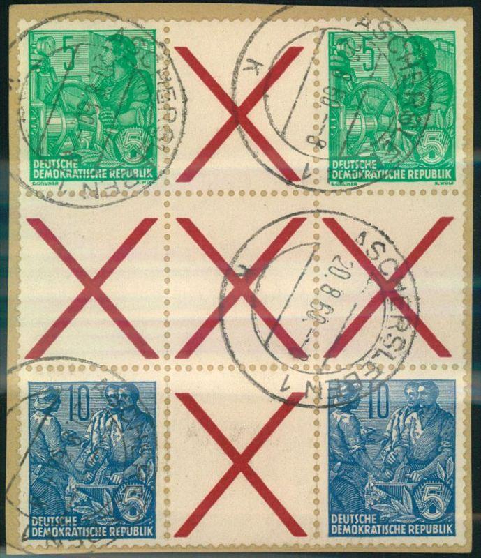 1960, sauber gestempeltes Herzstück 5 und 10 Pfg. Fünfjahresplan aus MH 1 auf kleinem Briefstück.