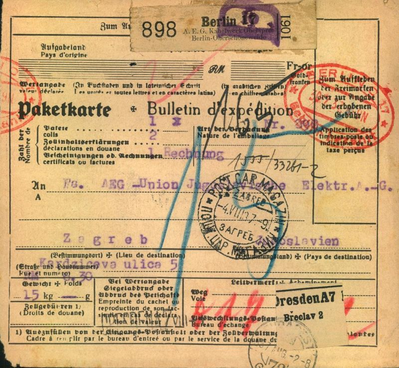 1937, Selbstbucher-Paketkarte (AEG)
