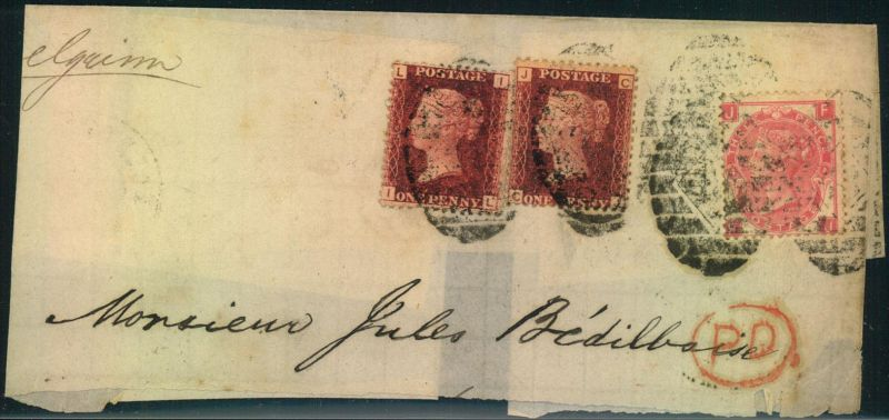 1867, large piece with 1 d ine engrved plate 96 and 3d QV with large wgite corner letters