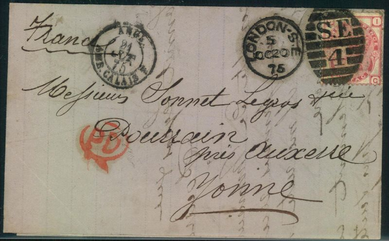 1875, 3 d QV, plate 18 on letter with duplex