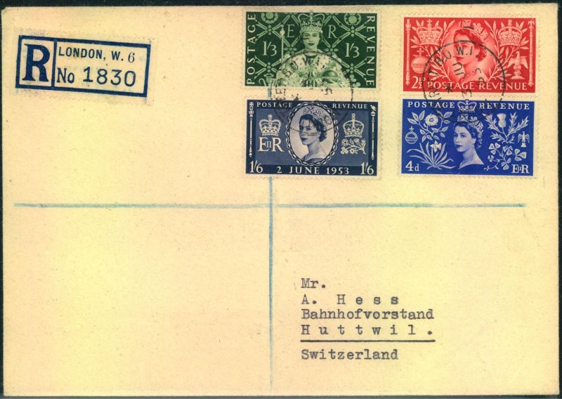 1953, Coronation complete on registered first day cover sent to Switzerland.