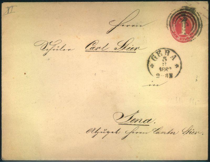 1862, 1 Silbergroschen Ganzsachenumschlag im Großformat ab GERA nach Jena. (ME 450,-)