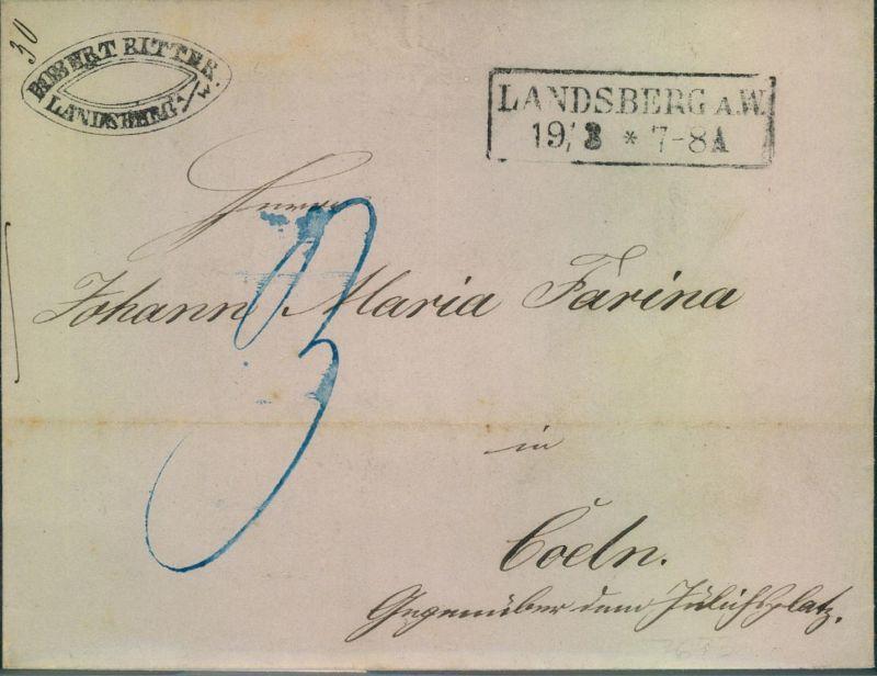 PREUSSEN: LANDSBBERG a:W., rs. Bahnpost