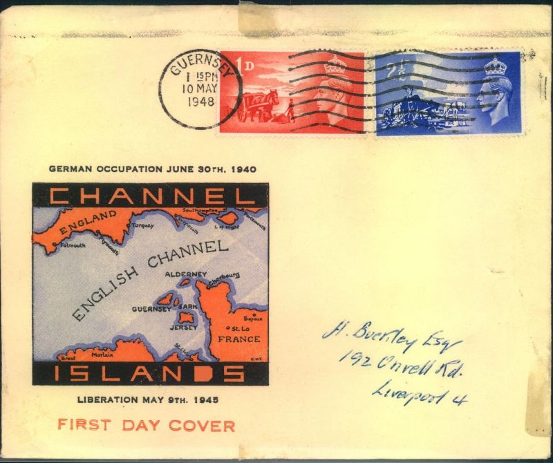 1948, Channel Islands, anniversay of liberation May 9th 1945, fdc