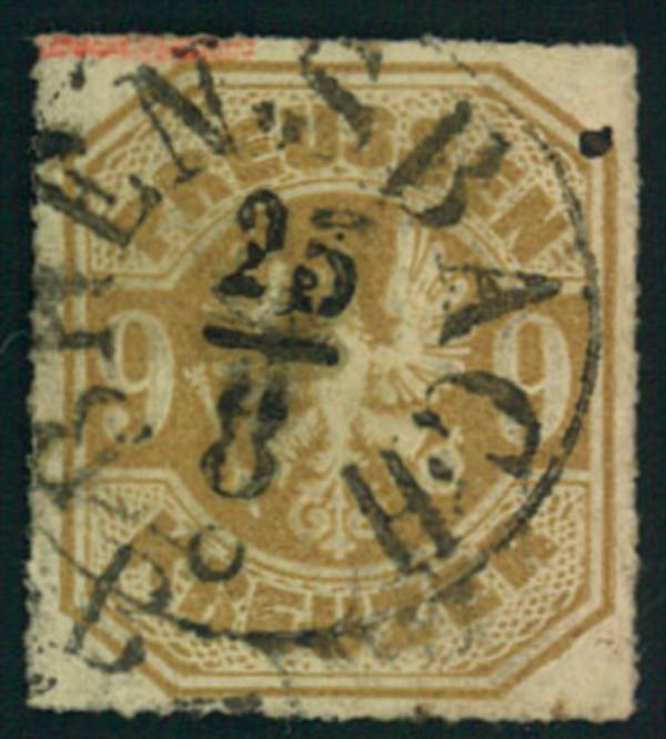 1867, 9 Kreuzer durchstochen mitThurn und Taxis Nachverwendung BENSBACH:
