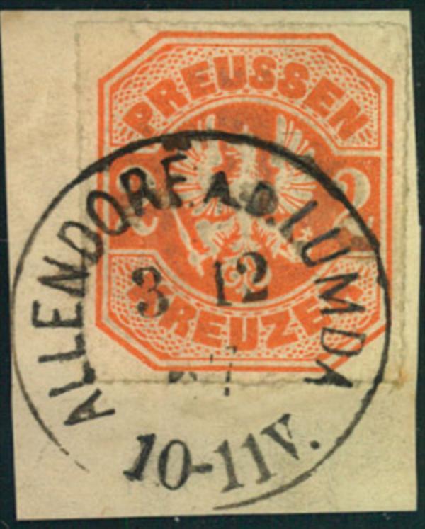 1867, kleins Briefstück mit 2 Kreuzer durchstochen ALLENDORF A.D. LUMBA. Luxus.