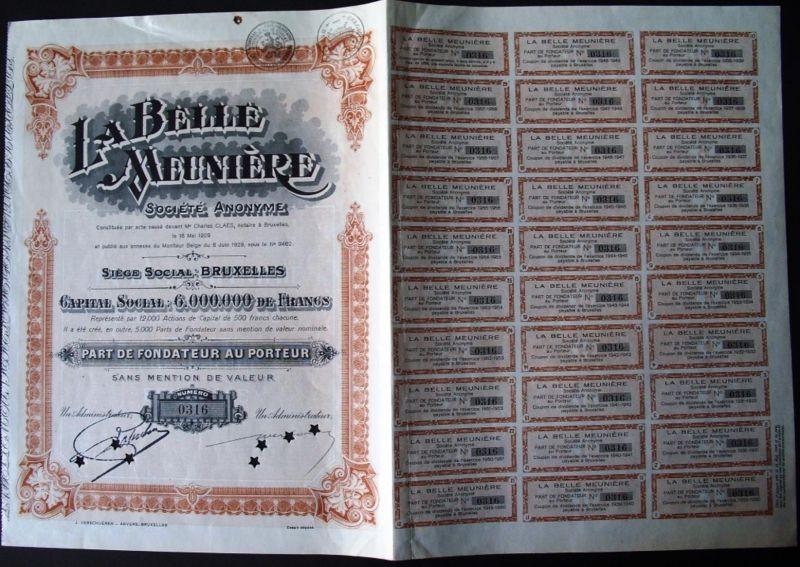 1929, LA BELLÈ MEUNIÈRE, Société Anonyme  with coupns from 1929 to 1958 complete