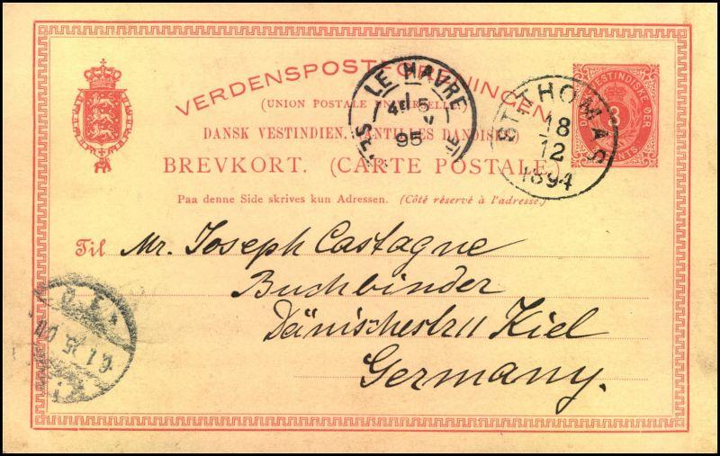 1894: 3 Oere postal stationery card sent from ST. THOMAS via Le Havre to Kiel, Germany.