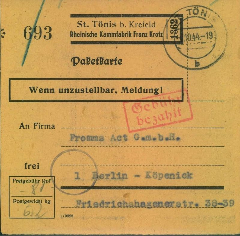 1944, Selbstbucher - Paketkarte