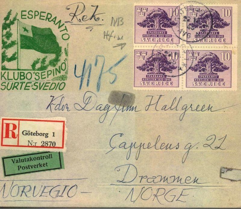 1945, registered letter GÖTEBORG to Drammen, Norway with ESPERANTO imprint and Valutacontroll
