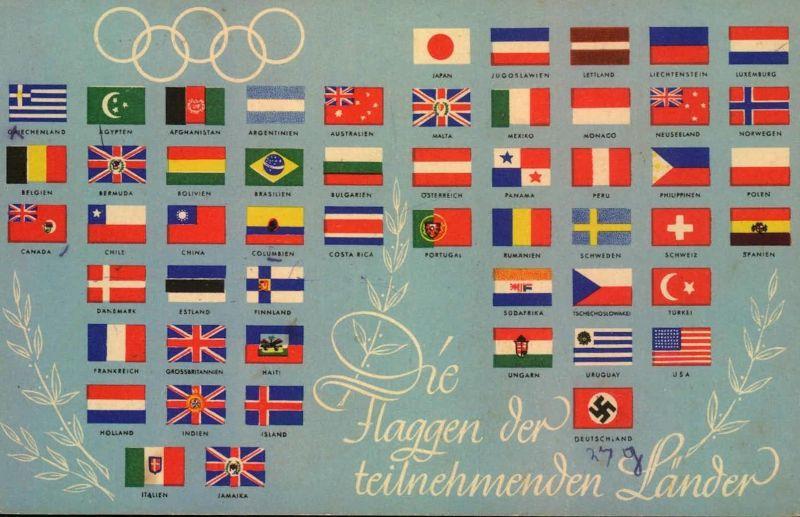 1936, Olympia - Flaggen der teilnehmenden Länder gebraucht