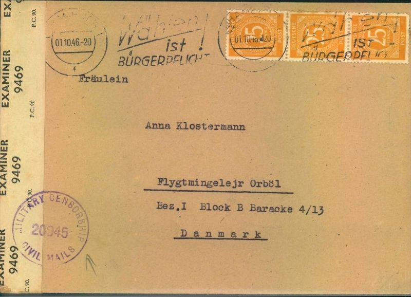 1946, Auslandsbrief mit dreimal 25 Pfg. gelb ab HAMBURG in das dänische Flüchtlingslager Orbøl. Mit britischer Zensur.