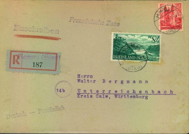 1947, RHeinland Pfalz, R-Brief HAMM (SIEG), Not-R-Zettel