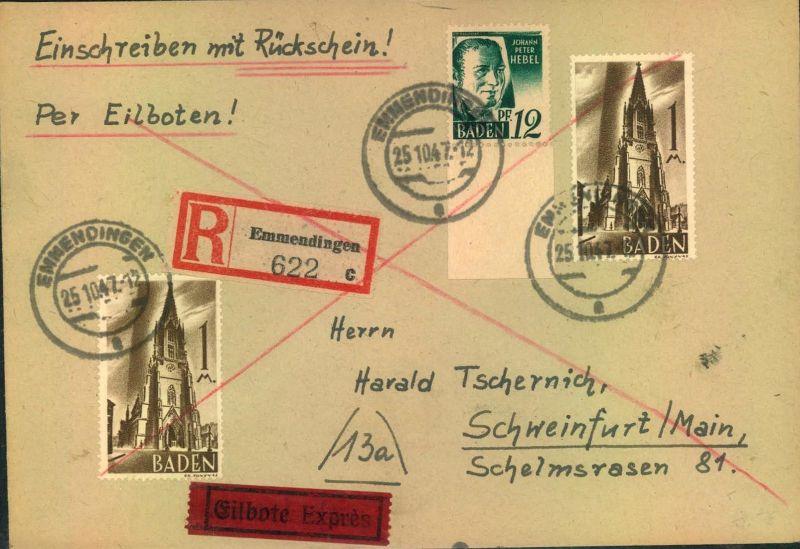 1947,BADEN. leicht überfrankierter R-Eil-Rückscheinbrief ab