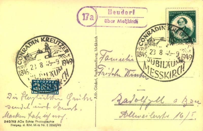1949, BADEN: 10 Pfg. Kreuzer auf Postkarte, PSt-Stempel