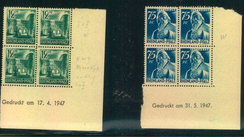 1947, RHEINLAND-PFALZ, WÜRTTEMBERG: 6 verschiedene Druckdaten