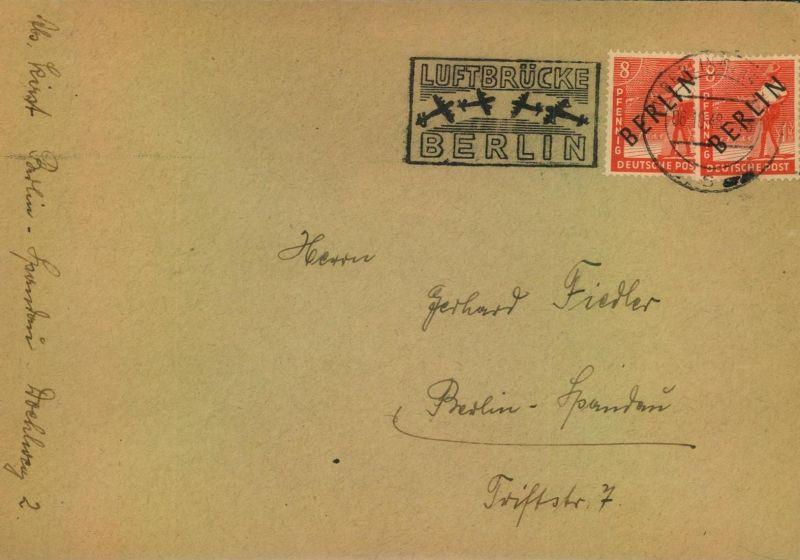 1948, Schwarzaufdruck, Luftbrückenstempel BERLIN-SPANDAU 5.10.48