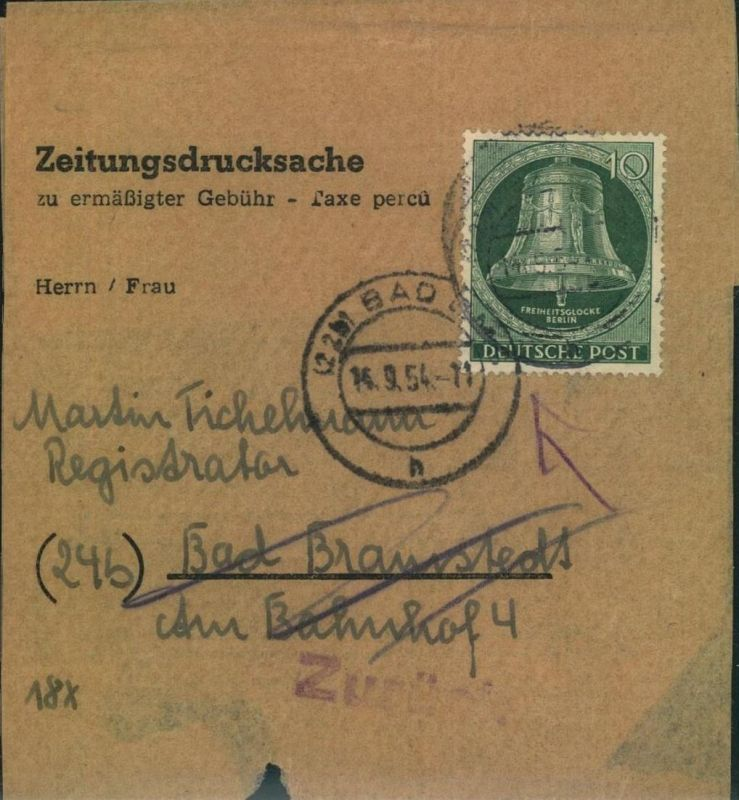 1954, Zeitungsdrucksache 10 Pfg. Glocke Mitte