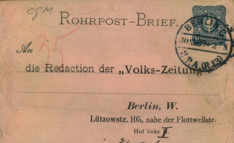 1889, BERLINER POSTGESCHICHTE, Rohpostumschlag, Vordruck