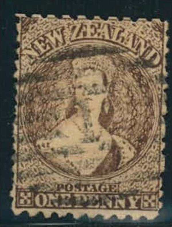 1872, 1 d QV brown without watermark used. (cv  £ 190)