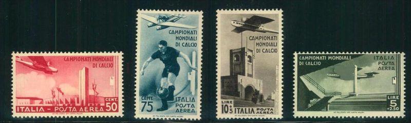 1934, komplette Ausgabe zur Fußball Weltmeisterschaft 1934 sauber ungebraucht mit Erstfalz. CAMPIONATI MONDIALI DE CALCI