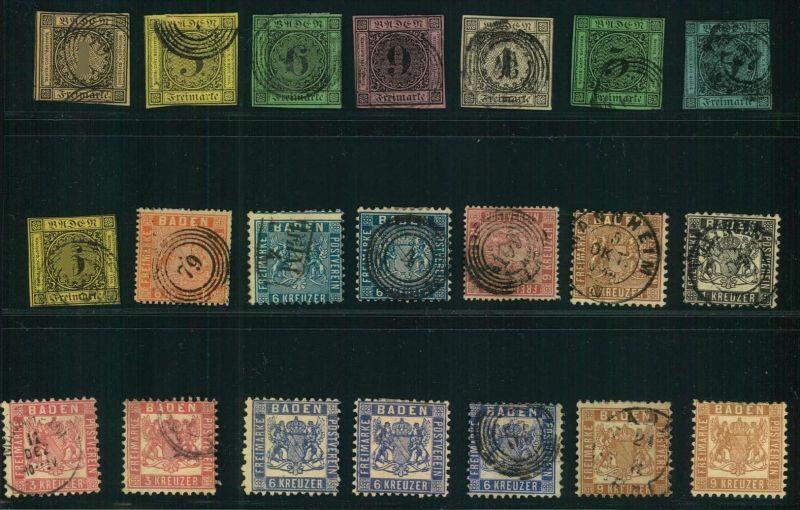 1851/1868, BADEN: kleines Lot von 29 Marken ab Nummer 1. Micehl ca. 1.100 Bitte genau besichtigen.