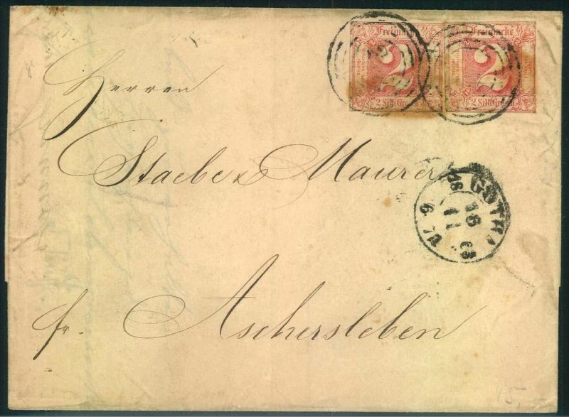 1851, 2 Silbergroschen rosarot zweimal auf Faltbriefhülle ab GOTHA nach Aschersleben.